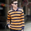Mens Striped Full Sleeve Polo T-Shirt