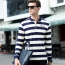 Mens Striped Full Sleeve Polo T-Shirt Image 1