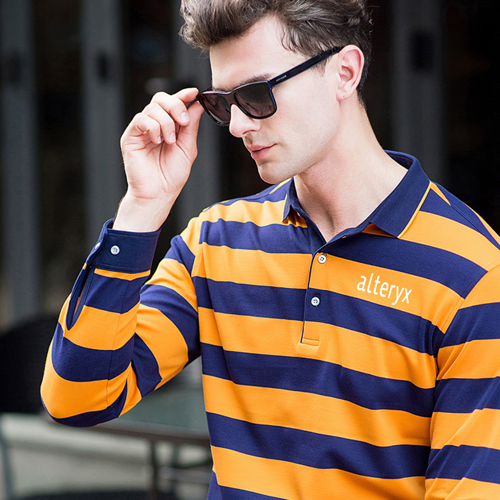 Mens Striped Full Sleeve Polo T-Shirt Image 2