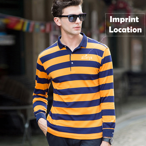 Mens Striped Full Sleeve Polo T-Shirt Imprint Image