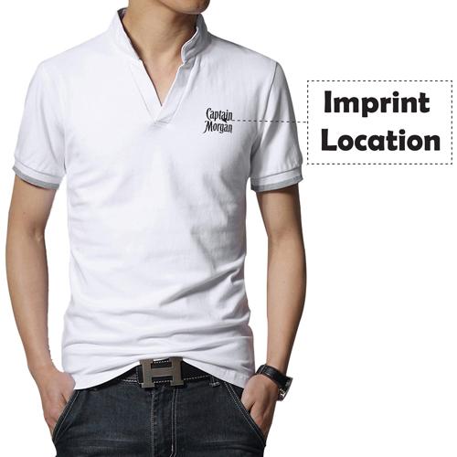 Short Sleeve V Neck Casual Mens T Shirts Imprint Image