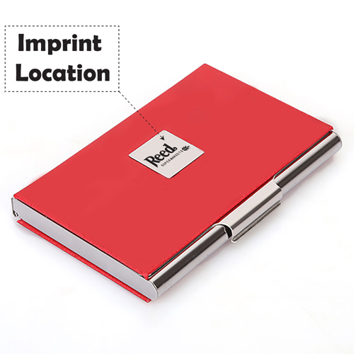 Stainless Steel and PU Credit Card Holder Imprint Image
