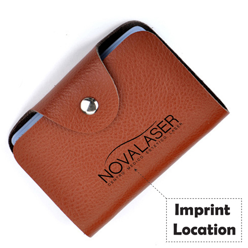 Cow Leather Credit Card Holder Imprint Image