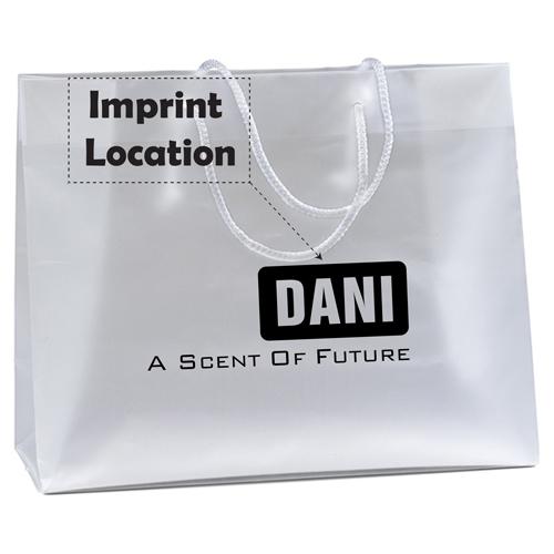 Macrame Handles Frosted Plastic Bag Imprint Image