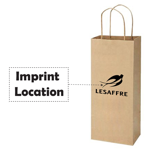 Kraft Paper Twisted Handles Wine Bags Imprint Image