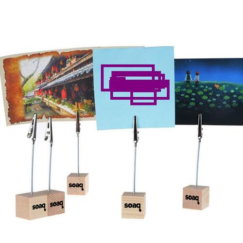 Wooden Cube Base Memo Clip Holder Image 3