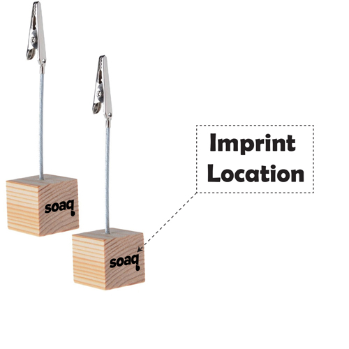 Wooden Cube Base Memo Clip Holder Imprint Image