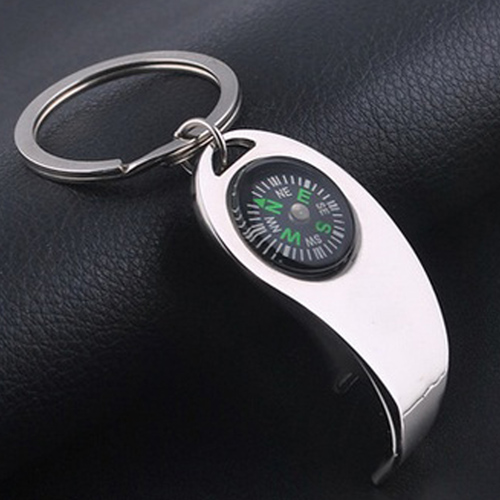 Metal Bottle Opener Keychain With Compass