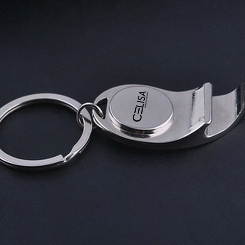 Metal Bottle Opener Keychain With Compass Image 1