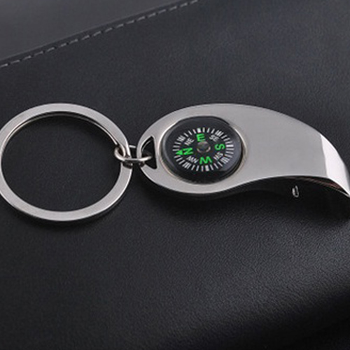 Metal Bottle Opener Keychain With Compass Image 2