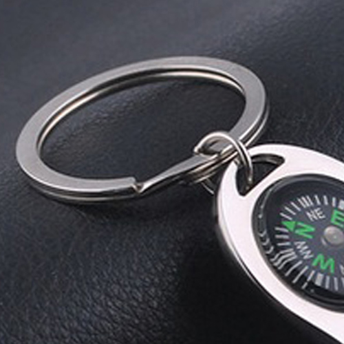 Metal Bottle Opener Keychain With Compass Image 3