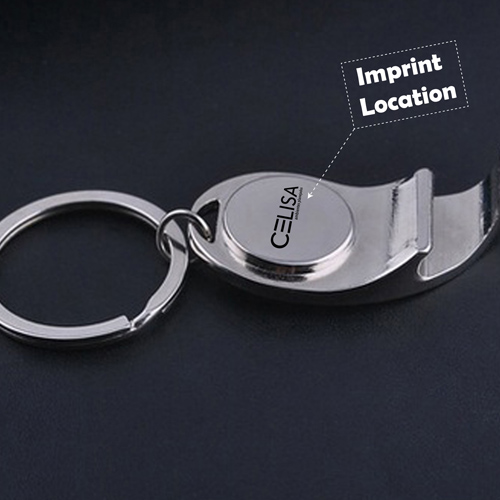 Metal Bottle Opener Keychain With Compass Imprint Image