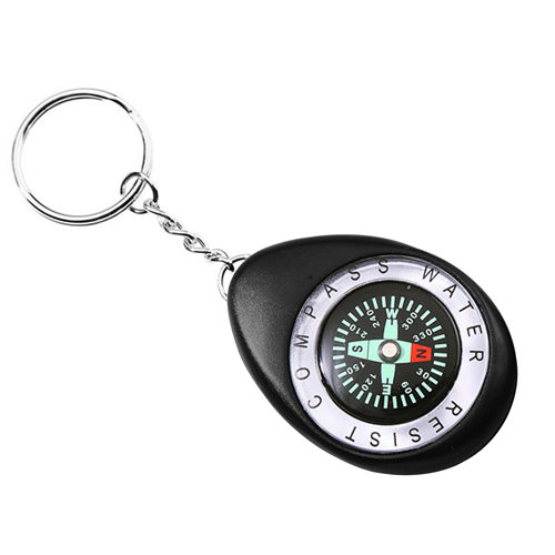 Oval Shaped Compass Keychain