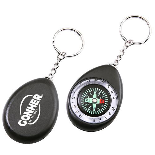 Oval Shaped Compass Keychain Image 1
