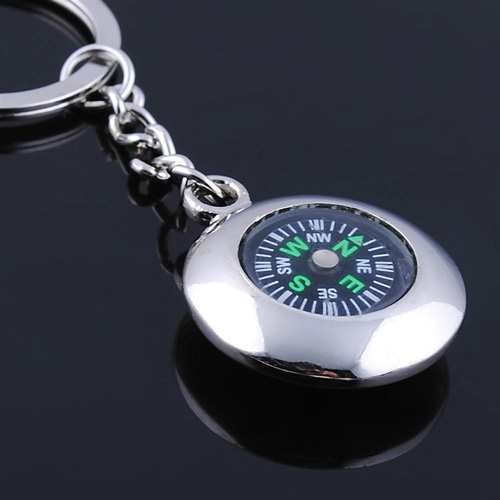Round Compass Metal Keychain Image 2