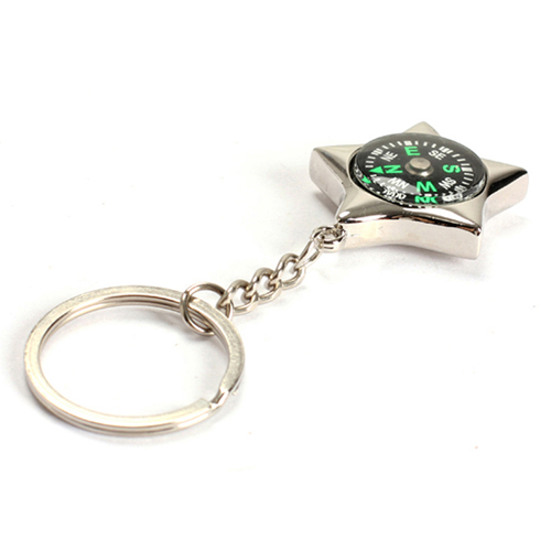 Star-Shaped Compass Keychain Image 1