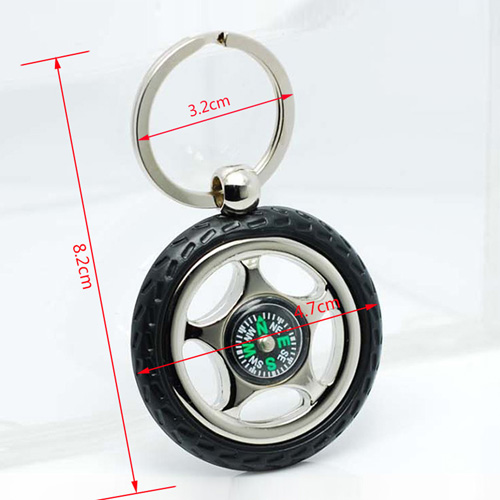 Creative Alloy Wheel Tyre Compass Keychain Image 1