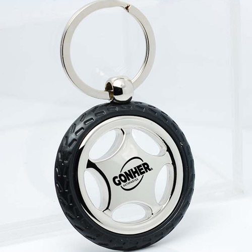 Creative Alloy Wheel Tyre Compass Keychain Image 4