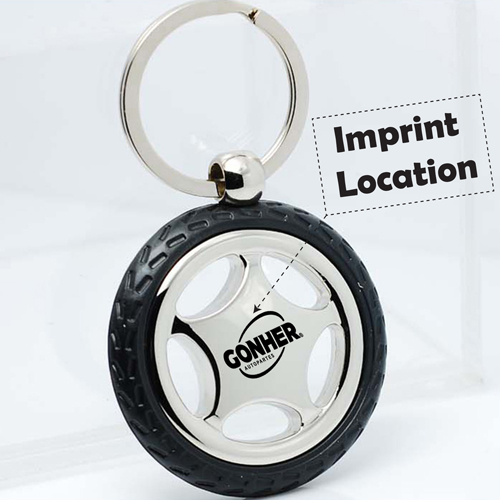 Creative Alloy Wheel Tyre Compass Keychain Imprint Image