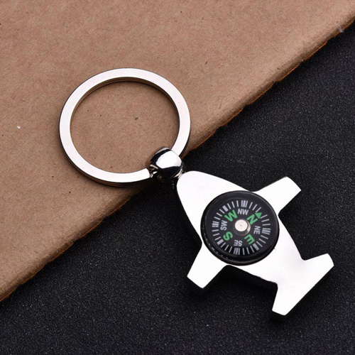 Plane Shaped Compass Keychain