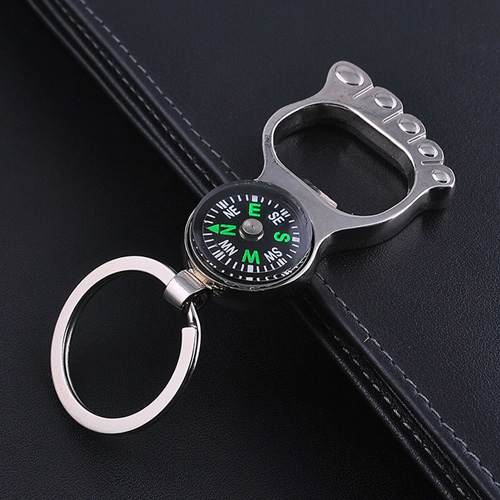 Foot Shaped Compass Keychain Image 2