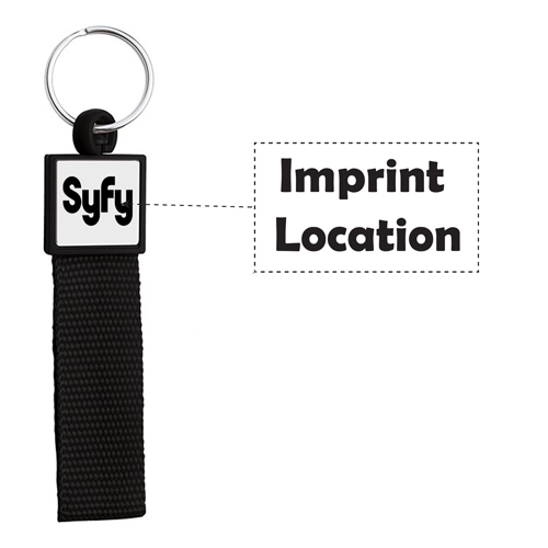 Square Body Web Strap Wristband Keyring Imprint Image