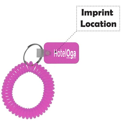 Rectangular Wrist Coil Keychain Imprint Image