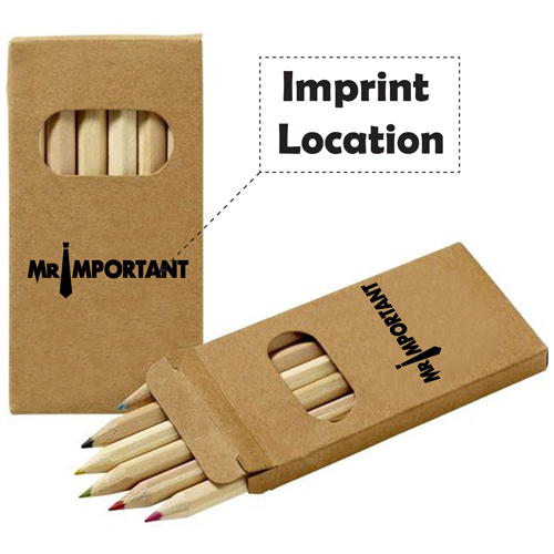 Wooden Six Color Pencil Set Imprint Image
