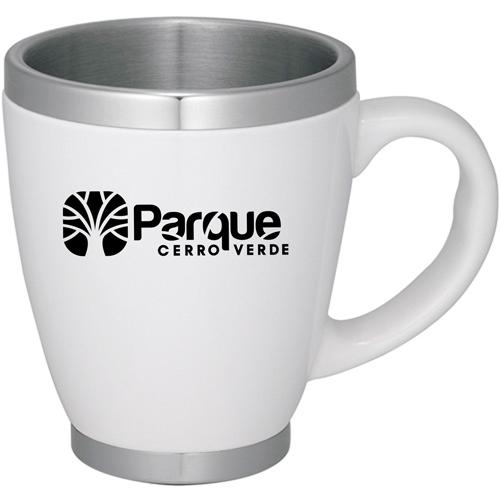Stainless Steel Liner Ceramic Coffee Mug Image 1