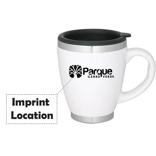 Stainless Steel Liner Ceramic Coffee Mug Imprint Image