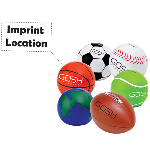 Sport Ball Shaped Coin Bank Imprint Image