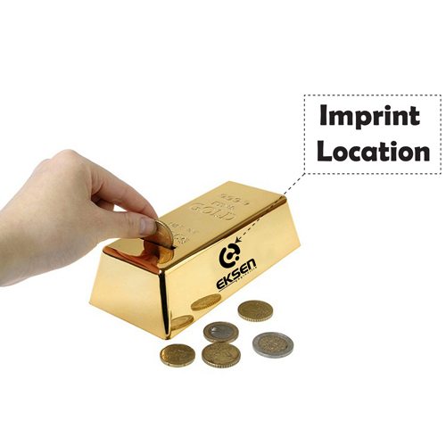 Gold Bar Shape Piggy Bank Imprint Image