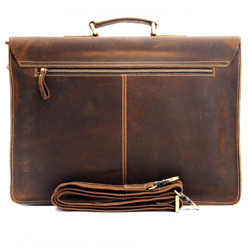Handmade Mens Leather Vintage Handbag Image 2