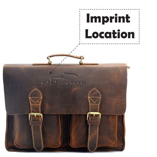Handmade Mens Leather Vintage Handbag Imprint Image