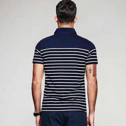 Stripe Pattern Sleek Polo Shirt Image 1
