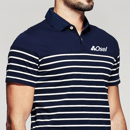 Stripe Pattern Sleek Polo Shirt Image 2