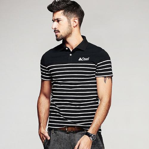 Stripe Pattern Sleek Polo Shirt Image 4