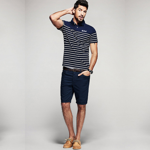 Stripe Pattern Sleek Polo Shirt Image 5