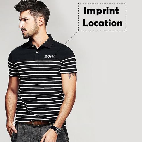 Stripe Pattern Sleek Polo Shirt Imprint Image