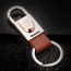 Silver Leather Keychain Image 1
