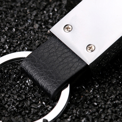 Silver Leather Keychain Image 3