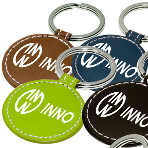 Round Leather Key Fob Image 2