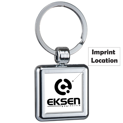Square Two Sided Budget Keyring Imprint Image