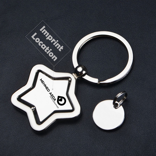 Star Key Chain Ring Holder Imprint Image