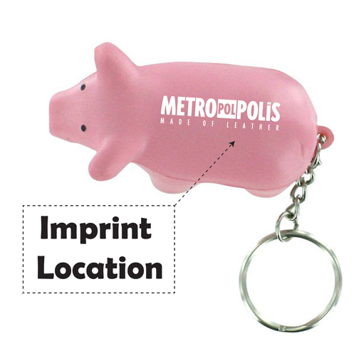 Pig Toy Stress Key Chain  Imprint Image