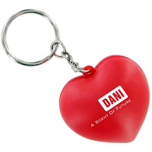 Heart Shaped Stress Ball Keychain