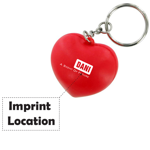 Heart Shaped Stress Ball Keychain Imprint Image