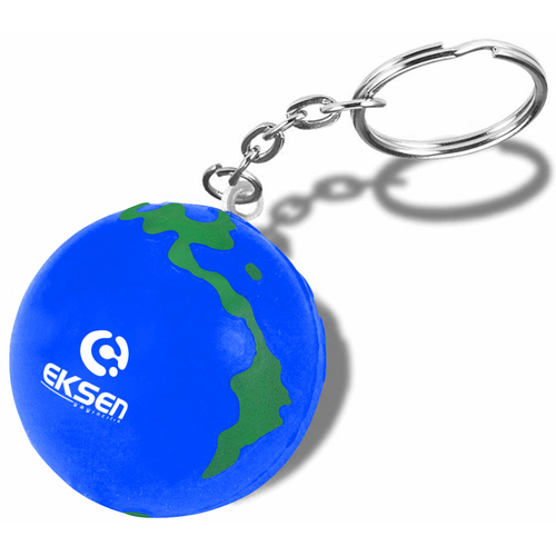 Earth Ball Stress Ball Keychain