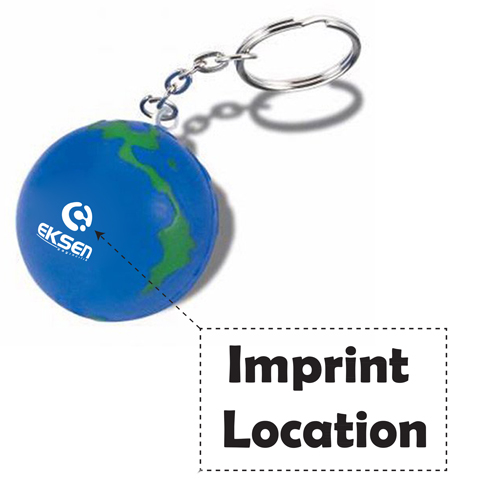 Earth Ball Stress Ball Keychain Imprint Image