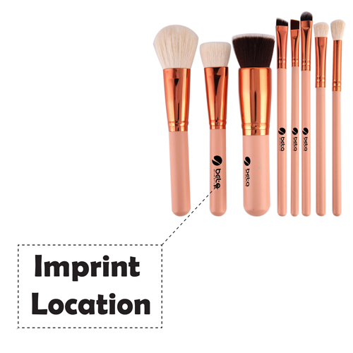 Wooden 8 Piece Makeup Brushes Set Imprint Image